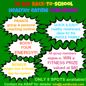 Healthy eating challenge - back to school